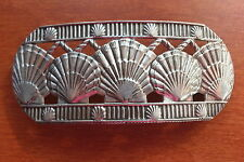GORGEOUS FRANCE ART NOUVEAU DESIGN SILVERTONE SEASHELLS HAIR BARRETTE HAIR CLIP