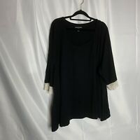 Woman Within Size 4X Black Shirt Short Sleeve Lace Detail women's plus size top