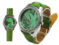 New Disney TinkerBell Lady Fashion Watch ( Big Dial ) w/ Leather Green Band