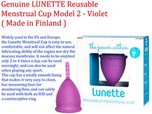 Genuine LUNETTE Reusable Menstrual Cup Model 2 - Violet ( Made in Finland )