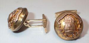 Republica Argentina Military Brass Button & 14K Yellow Gold Shank Cuff Links
