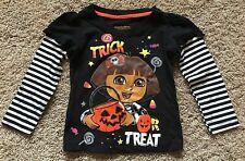 NWT Girls Black Long Sleeve Dora Halloween Top 5T