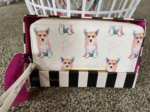 BETSEY JOHNSON CORGI  DOG WALLET WHITE PINK Color Gold  Wristlet Strap $48 NEW