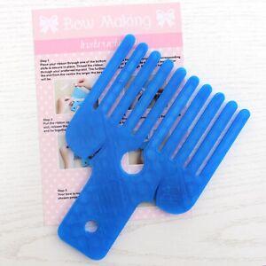 NEW Embellishment Ribbon BOW MAKING MAKER Large Plastic Craft Fork Navy Blue