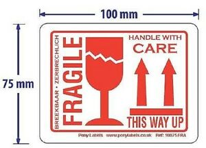 """1000 Large Fragile This Way Up Handle With Care Stickers Labels 4""""x3"""" White Red"""