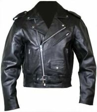 Mens Motorcycle Perfecto Brando 100% Leather Zip Up Jacket Black Biker