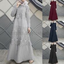 Women Kaftan Muslim Lace Crochet Long Sleeve Vintage Solid Long Shirt Dress Plus