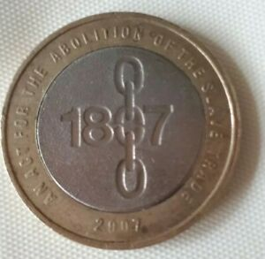 Abolition Of Slavery 1807 Two Pound Coin with Mint Error on Edge
