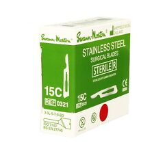 SWANN MORTON 100pcs No15C STERILE STAINLESS STEEL BLADES Made in UK Surgical NEW