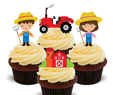 Farmer Boy & Girl Edible Cup Cake Toppers - Fairy Bun Decorations, Kids Birthday