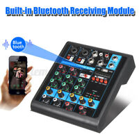 Mischpult 4-Kanal bluetooth USB Mini Audio Mixer Record DJ Konsole Verstärker CN