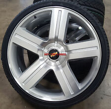 "22"" Wheels & Tires Chevy Texas Edition Style Rims Silverado Silver Mach Tahoe"