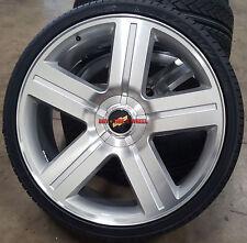 """22"""" Wheels & Tires Chevy Texas Edition Style Rims Silverado Silver Mach Tahoe"""