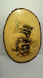 "Vintage Image Of Two Baby Raccoons on A Genuine Log Slice - 15"" x 9"""
