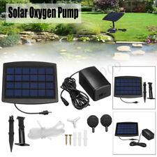 Solar Powered Oxygenator Pond Water Oxygen Pump 2 Air Stone Aerator Pool Garden
