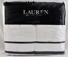 Ralph Lauren Spencer Border Sateen King Duvet Cover White / Navy