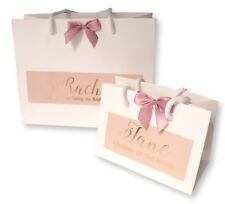 PERSONALISED WHITE GIFT BAG PINK LABEL + BOW GOLD FOIL THANK YOU WEDDING #018