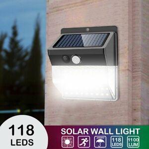 118 LED Solarleuchte Solarlampe mit Bewegungsmelder Außen Fluter Sensor Strahler