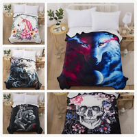 3D Wolf /Skull/Unicorn/Beauty Quilts Air Conditioner Comforter Bedding Blanket