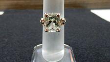 Size 7 Prasiolite, Black Spinel, White Zircon Sterling Silver Cocktail Ring