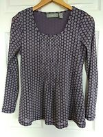 Liz Claiborne tunic top blouse purple floral boho stretch lined Womens Med EUC