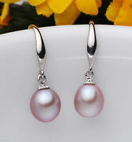7-8mm Natural Purple Akoya Freshwater Pearl Sterling Silver Hook Dangle Earring