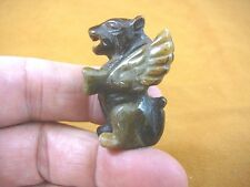 (Y-Lio-Ga-559) brown Roaring Lion Gargoyle gemstone statue carving love mythical