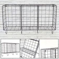 3 Units Vintage Metal Wire Wall Shelf Unit Hooks Storage Rack Cabinet Industrial