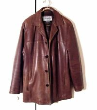 Vtg Distr Brown Leather Wilsons Pelle Studios Button Lined Hipster Jacket Sz L