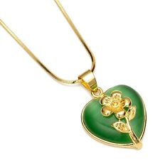 "Filled 18"" Chain Flower Necklace Women's Heart Pendant 18k Yellow Gold"