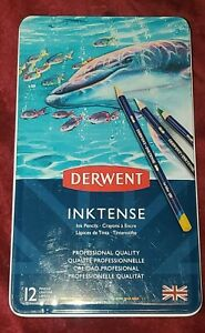 Derwent Inktense Water-Soluble Colour Pencil Tin of 12 Assorted Colours 0700928