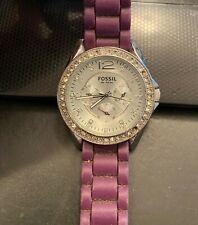 Women's Fossil Watch, All Stainless, WR to 10ATM, Rhinestone Bezel, Poly Band