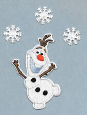 "4""H Olaf - Frozen - Embroidered Iron On Applique Patch - With (3) 1"" Snowflakes"
