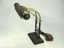Vintage Art Deco Brown Desk Lamp Cast Metal Base Double Brass Gooseneck WORKS!