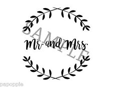 Stencil Mr and Mrs Laurel Leaf Use for Signs Pillows Plaques Weddings
