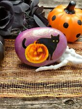 Hand Painted Rock Halloween Black Cat & Pumpkin Decor / Stone Paperweight