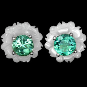 NATTURAL AAA GREEN TOURMALINE & MOTHER OF PEARL STERLING 925 SILVER EARIRNG