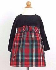 Healthtex Long Sleeve Dress 3T Toddler Girl Black Red Green Gold Christmas