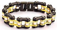 Men's Stainless Steel Double Link Siver Black Gold Bike Chain Bracelet US Seller