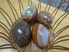 4 Assorted Brown Alabaster Marble Malachite Natural Stone Eggs Easter