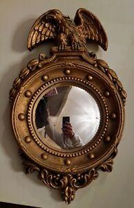 Vintage Gold Gilt Federal Convex Bubble Glass Eagle 13 Colonies Mirror