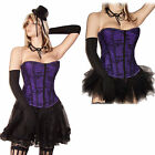 NEW Embroidered Purple Burlesque Corset Costume Regular & Plus Size