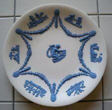 "Vintage Wedgwood Jasperware Rare 9"" Reverse Blue on White Plate Cupid Cherub"