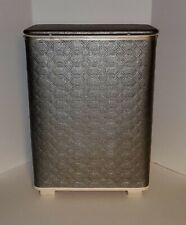 Vintage Mid Century Redmon Laundry Hamper Basket with Handles - Silver Vinyl