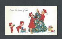 Mid Century LADY Family in P.J.s, Santa Hats, Decorate Tree NORCROSS Xmas Card