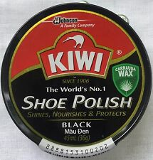 Kiwi Shoe Polish BLACK Rich Paste Shine CARNAUBA Wax  Tin 36 g