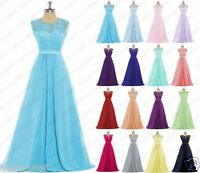 Stock New Lace Evening Formal Party Ball Gowns Prom Bridesmaid Dresses Size 6-24