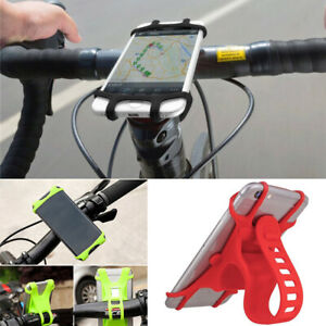 Silicone Motorcycle Bicycle Black Holder Mount Handlebar For GPS Cell Phone 4-6'