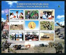 Usbekistan 2012 Armee Militär Panzer Hubschrauber Kleinbogen ** MNH