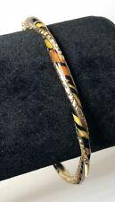 """14k Gold Enamel Leopard Tiger Animal Print Hinged Bangle Bracelet 7"""""""